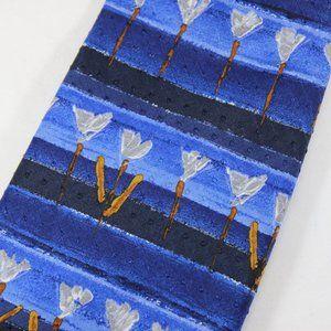 Ermenegildo Zegna Tie Blue w Painted Tulips EUC